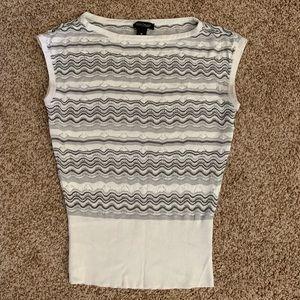 WHBM Grey and White Wavy Stripe Top